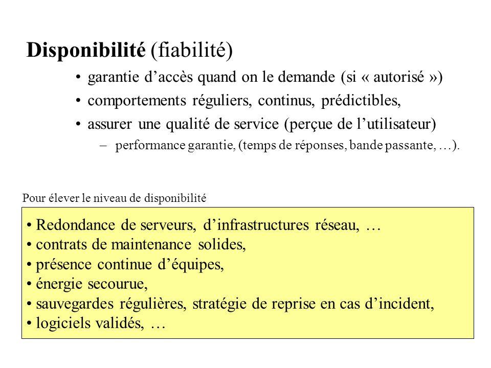 Disponibilité (fiabilité) garantie daccès quand on le demande (si « autorisé ») comportements réguliers, continus, prédictibles, assurer une qualité d