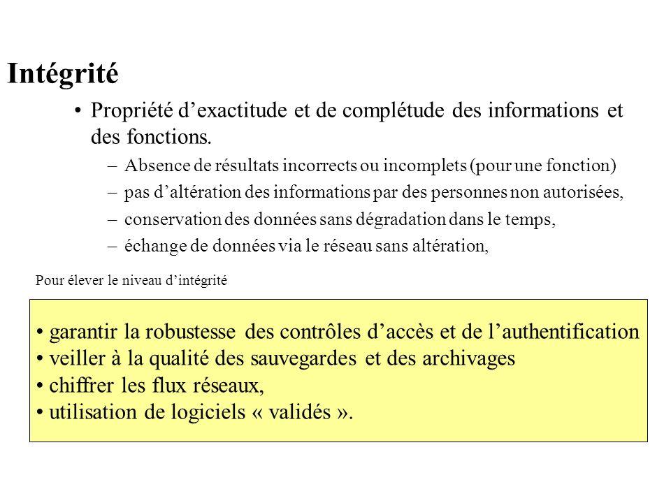 Intégrité Propriété dexactitude et de complétude des informations et des fonctions. –Absence de résultats incorrects ou incomplets (pour une fonction)