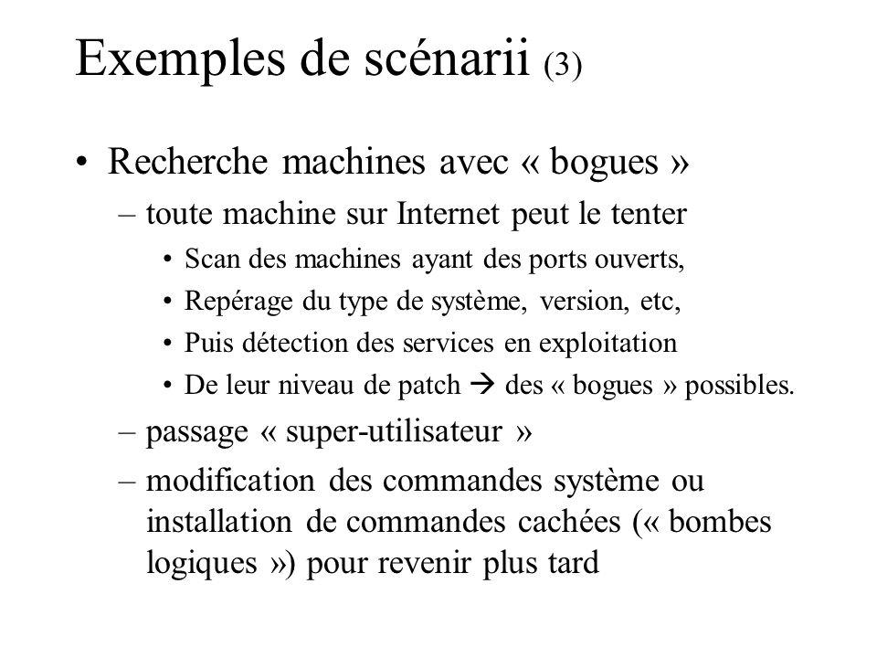 Exemples de scénarii (3) Recherche machines avec « bogues » –toute machine sur Internet peut le tenter Scan des machines ayant des ports ouverts, Repé