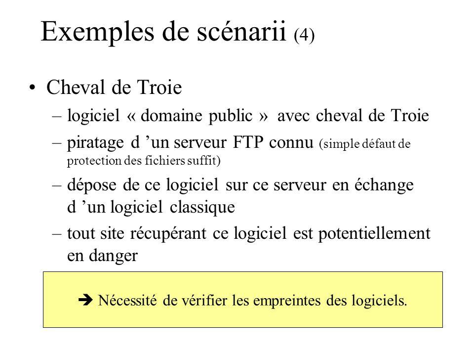 Exemples de scénarii (5) Messagerie –SPAM (mascarade d adresse phishing) –exploitation de « bogues » des produits « sendmail », « PosFix » ou « OutLook », … Déni de service –« fausses » connexions à rythme très rapide sur un port donné (service classique) d un serveur –le serveur ne répond plus pour les vrais utilisateurs Plantage à distance –exploitation de « bogues » (noyau du système)