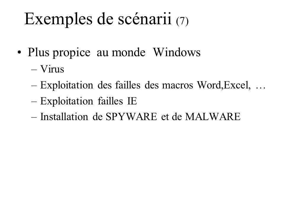 Exemples de scénarii (7) Plus propice au monde Windows –Virus –Exploitation des failles des macros Word,Excel, … –Exploitation failles IE –Installatio