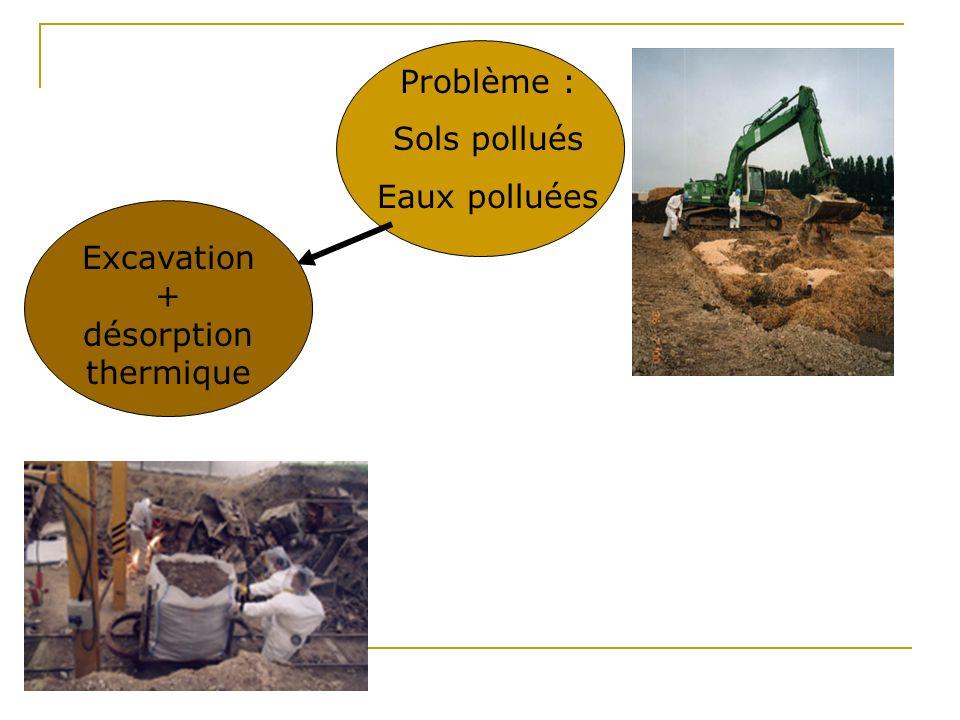 Mise en perspective: exemples de techniques de remédiation des sols Excavation et traitement hors site (400 000t) Incinération Enfouissement Hydrocarb