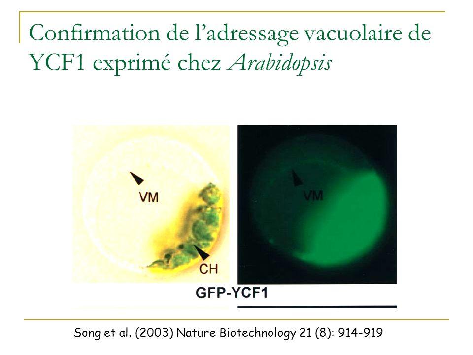 Identification dun facteur de tolérance au cadmium chez la levure: YCF1 Song et al. (2003) Nature Biotechnology 21 (8): 914-919