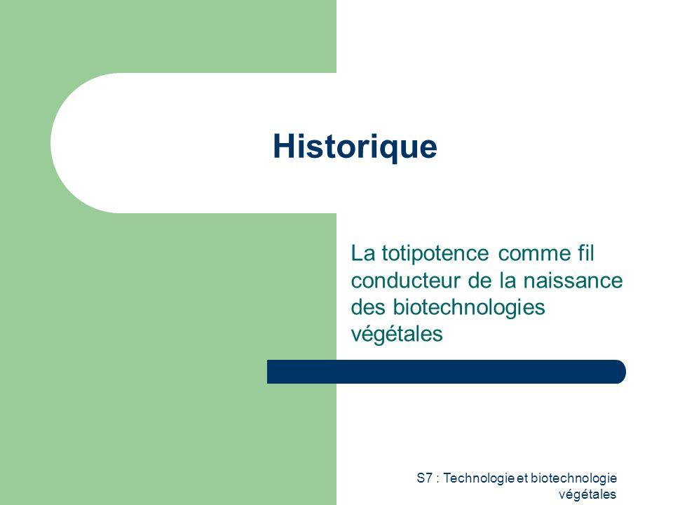 S7 : Technologie et biotechnologie végétales Historique La totipotence comme fil conducteur de la naissance des biotechnologies végétales