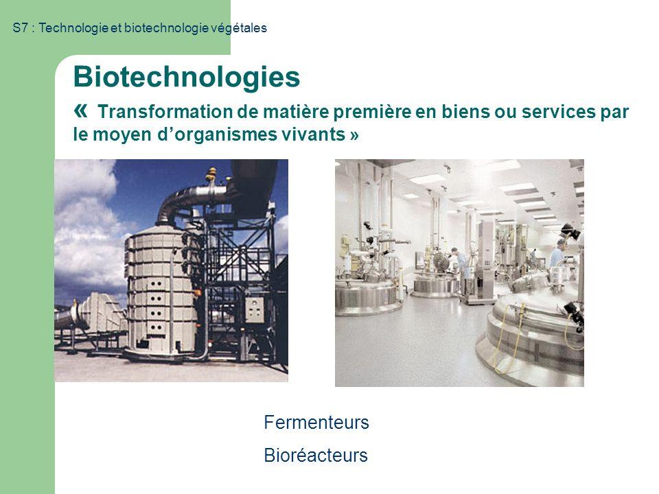 S7 : Technologie et biotechnologie végétales Biotechnologies « Transformation de matière première en biens ou services par le moyen dorganismes vivant