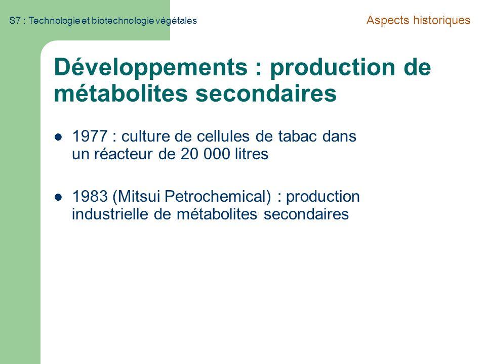 S7 : Technologie et biotechnologie végétales Développements : production de métabolites secondaires 1977 : culture de cellules de tabac dans un réacte