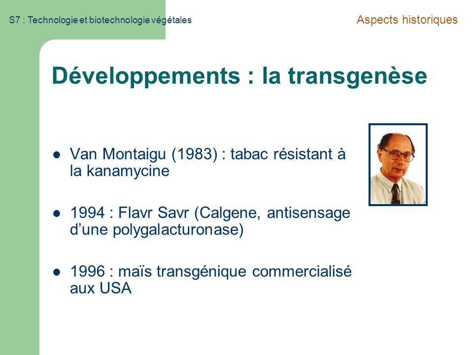 S7 : Technologie et biotechnologie végétales Développements : la transgenèse Van Montaigu (1983) : tabac résistant à la kanamycine 1994 : Flavr Savr (