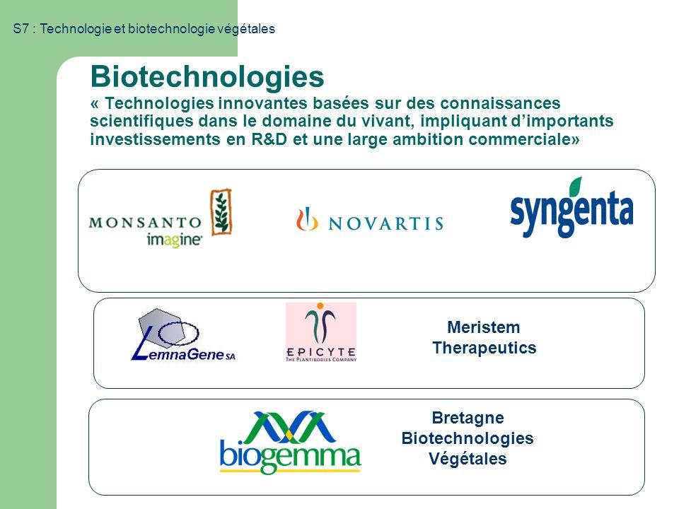 S7 : Technologie et biotechnologie végétales Biotechnologies « Technologies innovantes basées sur des connaissances scientifiques dans le domaine du v