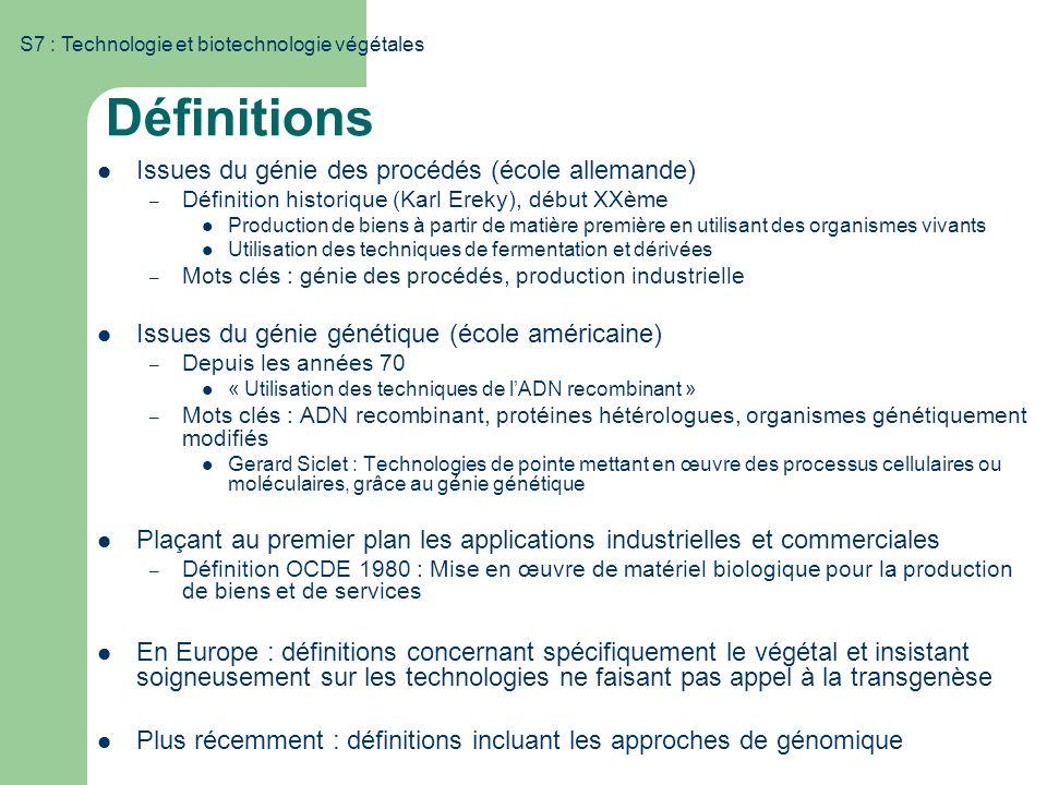 S7 : Technologie et biotechnologie végétales Définitions Issues du génie des procédés (école allemande) – Définition historique (Karl Ereky), début XX