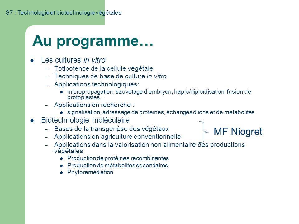 S7 : Technologie et biotechnologie végétales Au programme… Les cultures in vitro – Totipotence de la cellule végétale – Techniques de base de culture