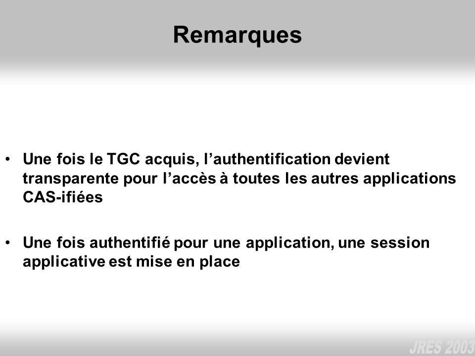 Remarques Une fois le TGC acquis, lauthentification devient transparente pour laccès à toutes les autres applications CAS-ifiées Une fois authentifié