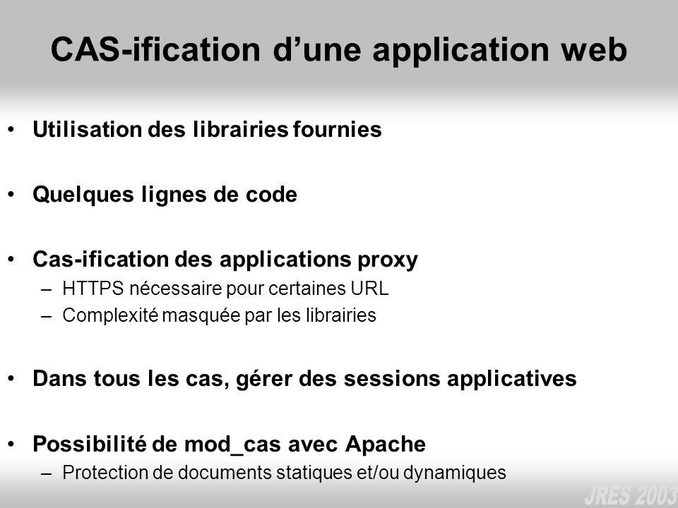 CAS-ification dune application web Utilisation des librairies fournies Quelques lignes de code Cas-ification des applications proxy –HTTPS nécessaire