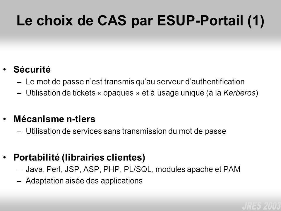 Le choix de CAS par ESUP-Portail (1) Sécurité –Le mot de passe nest transmis quau serveur dauthentification –Utilisation de tickets « opaques » et à u