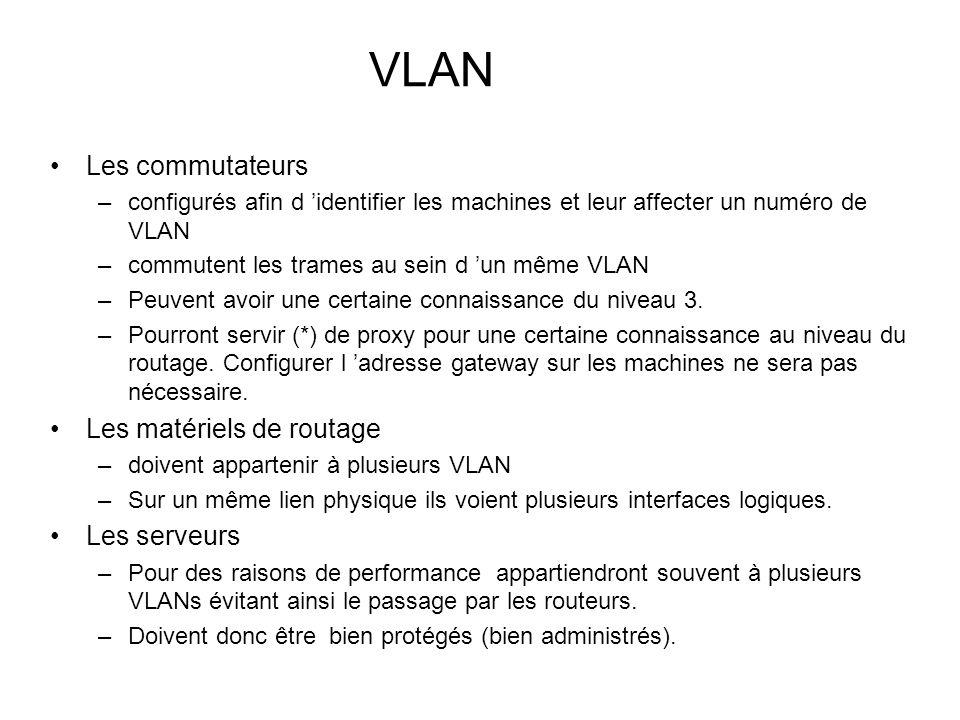 VLAN Les commutateurs –configurés afin d identifier les machines et leur affecter un numéro de VLAN –commutent les trames au sein d un même VLAN –Peuv