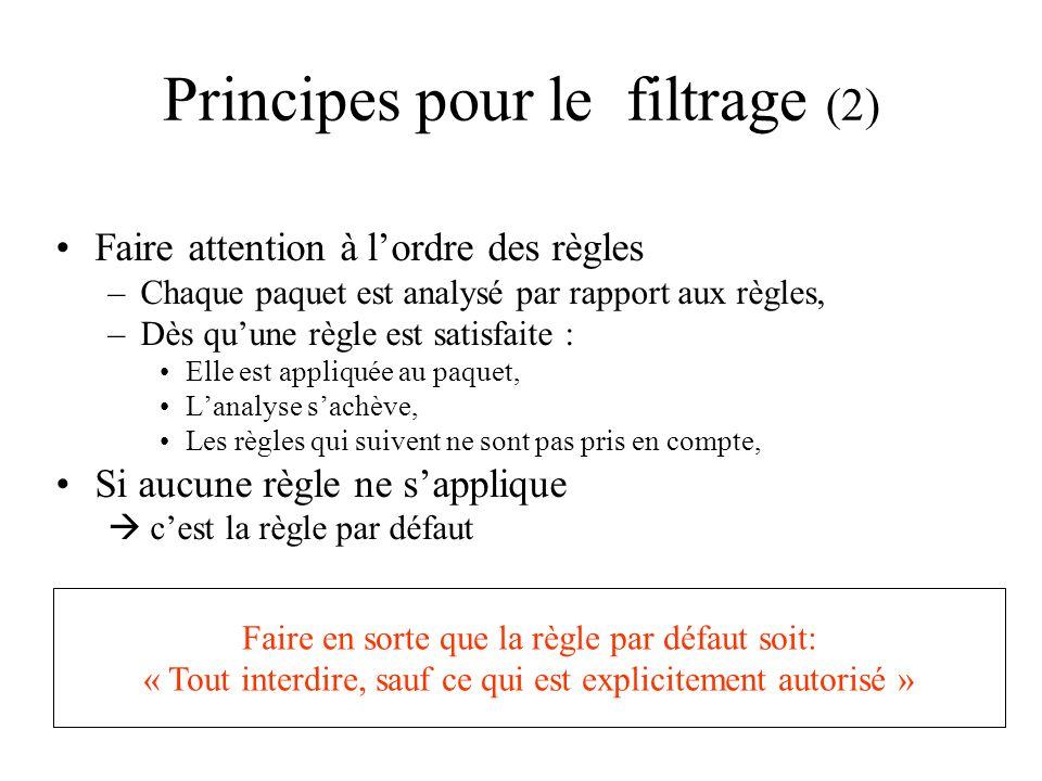 Principes pour le filtrage (2) Faire attention à lordre des règles –Chaque paquet est analysé par rapport aux règles, –Dès quune règle est satisfaite