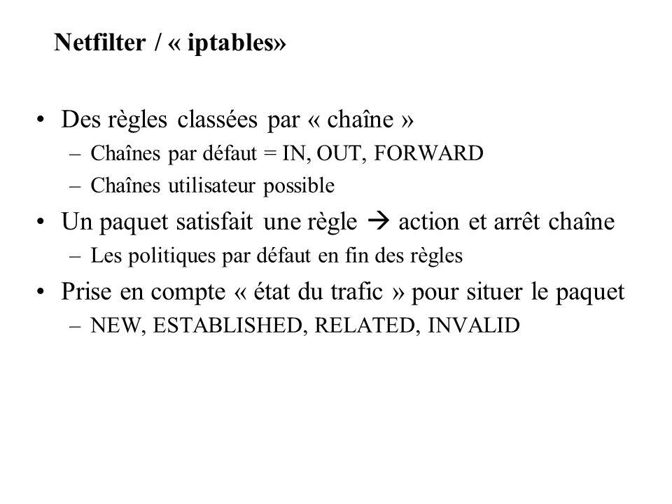 Netfilter / « iptables» Des règles classées par « chaîne » –Chaînes par défaut = IN, OUT, FORWARD –Chaînes utilisateur possible Un paquet satisfait un