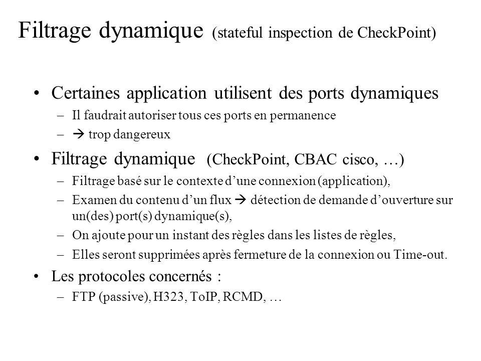 Filtrage dynamique (stateful inspection de CheckPoint) Certaines application utilisent des ports dynamiques –Il faudrait autoriser tous ces ports en p