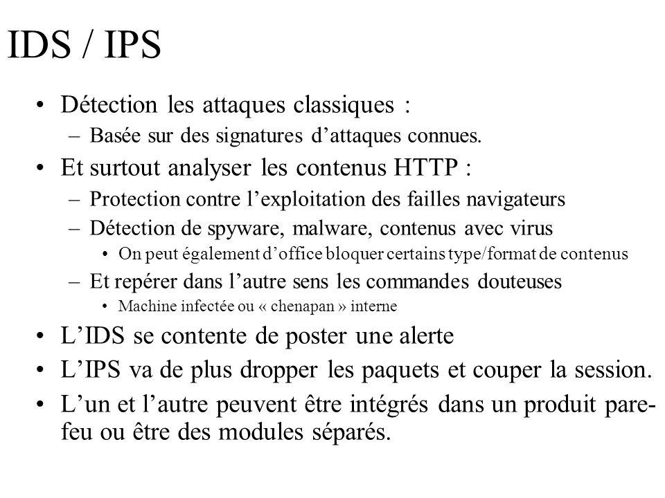 IDS / IPS Détection les attaques classiques : –Basée sur des signatures dattaques connues. Et surtout analyser les contenus HTTP : –Protection contre