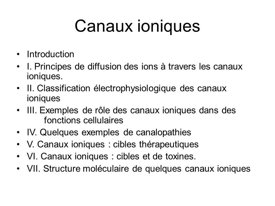 Canaux ioniques Introduction I. Principes de diffusion des ions à travers les canaux ioniques. II. Classification électrophysiologique des canaux ioni