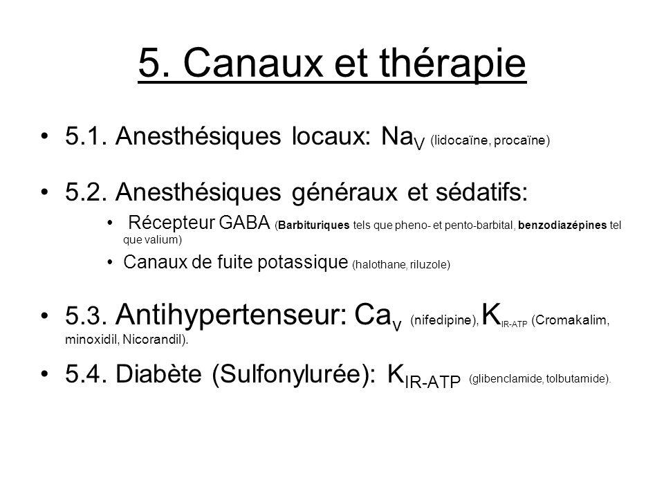 5. Canaux et thérapie 5.1. Anesthésiques locaux: Na V (lidocaïne, procaïne) 5.2. Anesthésiques généraux et sédatifs: Récepteur GABA (Barbituriques tel