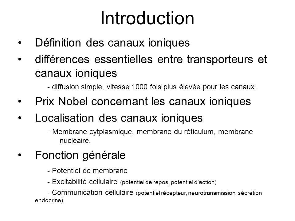 Introduction Définition des canaux ioniques différences essentielles entre transporteurs et canaux ioniques - diffusion simple, vitesse 1000 fois plus