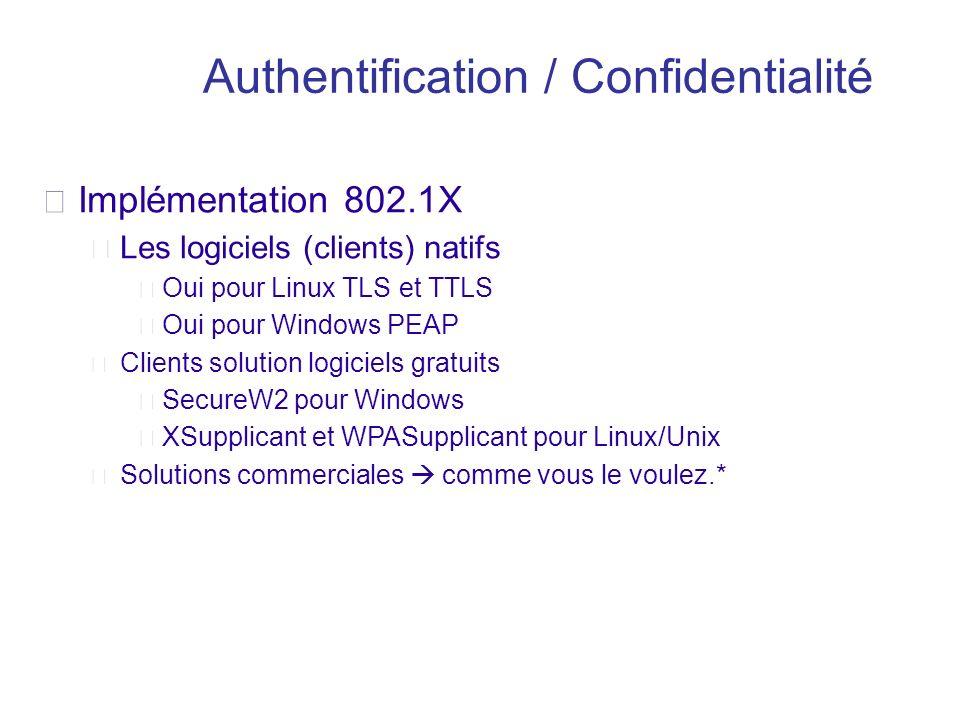 Implémentation 802.1X Les logiciels (clients) natifs Oui pour Linux TLS et TTLS Oui pour Windows PEAP Clients solution logiciels gratuits SecureW2 pou