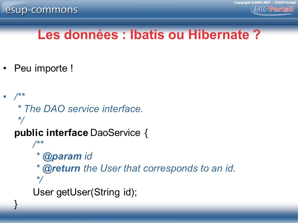 Copyright © 2006-2007 – ESUP-Portail Les données : Ibatis ou Hibernate ? Peu importe ! /** * The DAO service interface. */ public interface DaoService