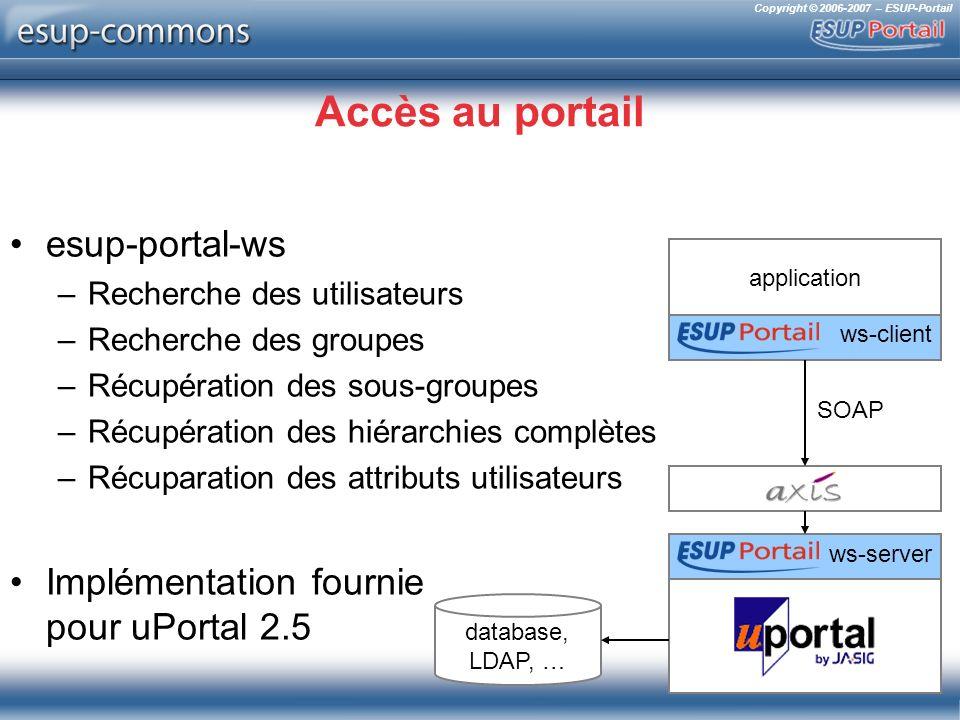 Copyright © 2006-2007 – ESUP-Portail Accès au portail esup-portal-ws –Recherche des utilisateurs –Recherche des groupes –Récupération des sous-groupes –Récupération des hiérarchies complètes –Récuparation des attributs utilisateurs Implémentation fournie pour uPortal 2.5 ws-server SOAP application database, LDAP, … ws-client