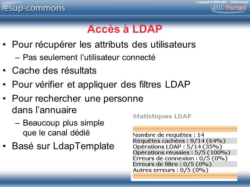 Copyright © 2006-2007 – ESUP-Portail Accès à LDAP Pour récupérer les attributs des utilisateurs –Pas seulement lutilisateur connecté Cache des résulta