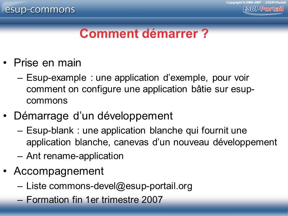 Copyright © 2006-2007 – ESUP-Portail Comment démarrer ? Prise en main –Esup-example : une application dexemple, pour voir comment on configure une app