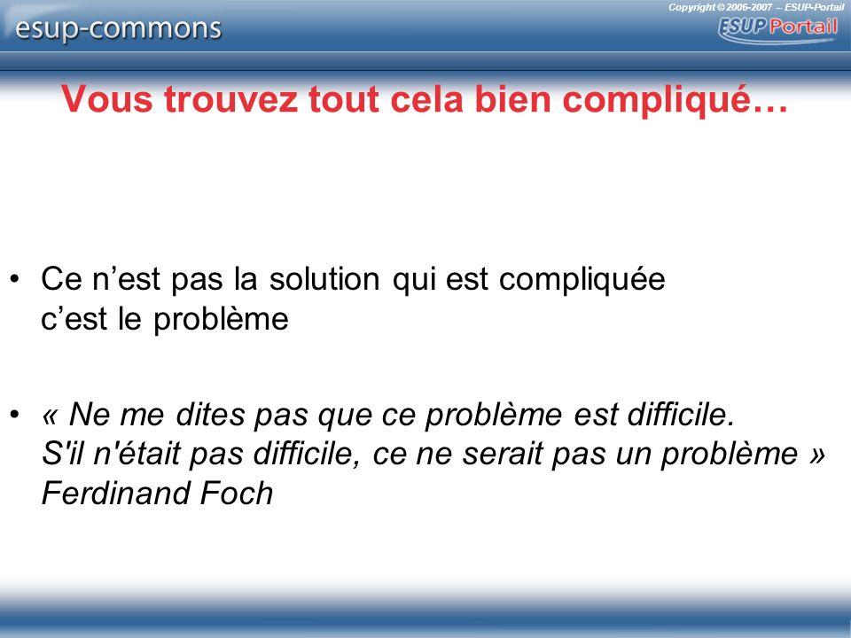Copyright © 2006-2007 – ESUP-Portail Vous trouvez tout cela bien compliqué… Ce nest pas la solution qui est compliquée cest le problème « Ne me dites