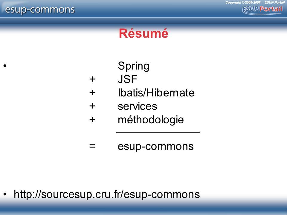 Copyright © 2006-2007 – ESUP-Portail Résumé Spring +JSF + Ibatis/Hibernate +services +méthodologie = esup-commons http://sourcesup.cru.fr/esup-commons
