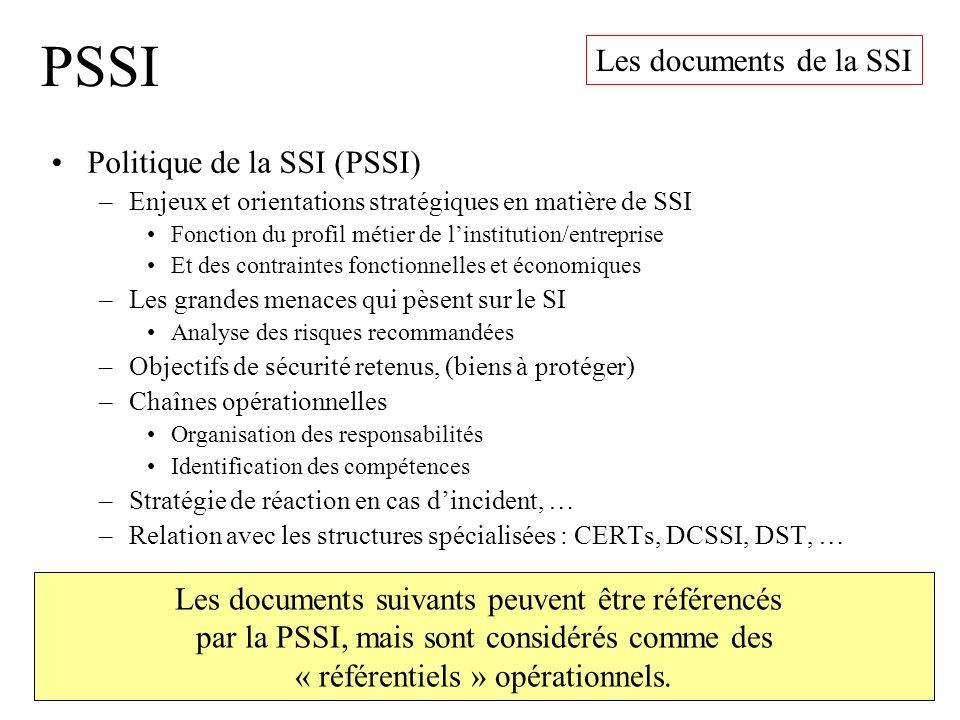 PSSI Politique de la SSI (PSSI) –Enjeux et orientations stratégiques en matière de SSI Fonction du profil métier de linstitution/entreprise Et des con