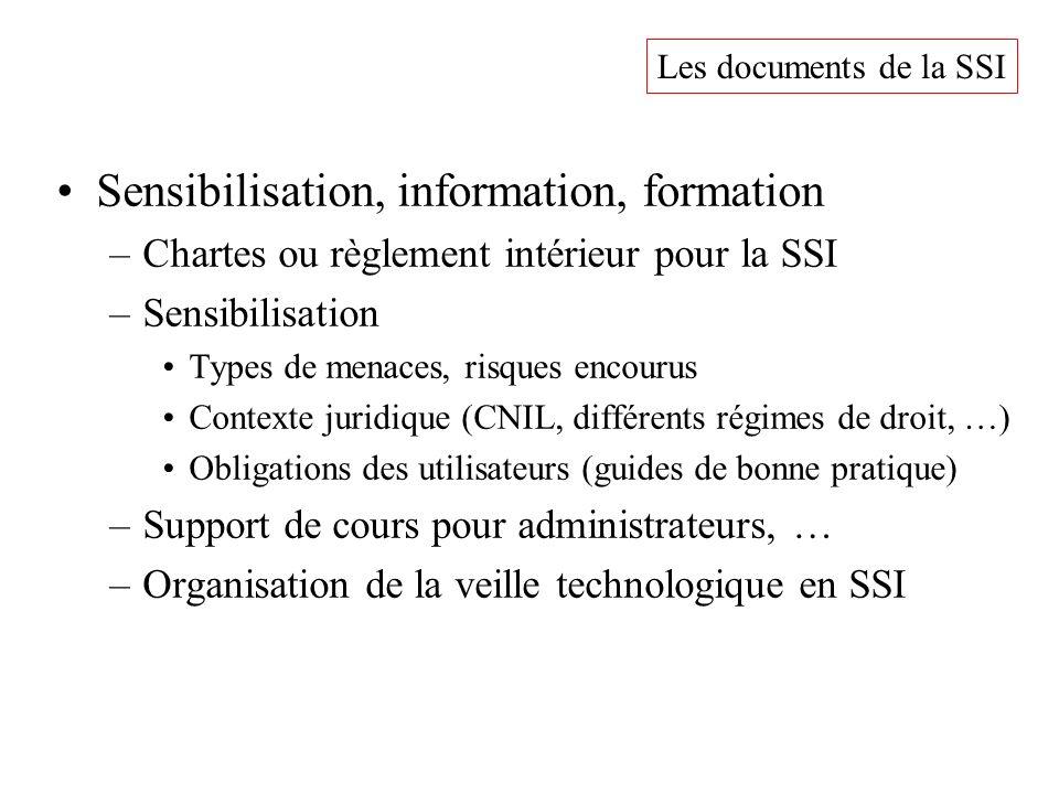 Sensibilisation, information, formation –Chartes ou règlement intérieur pour la SSI –Sensibilisation Types de menaces, risques encourus Contexte jurid
