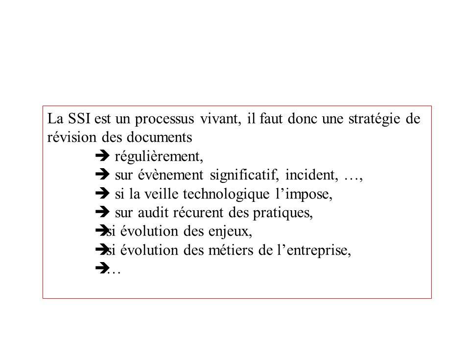 La SSI est un processus vivant, il faut donc une stratégie de révision des documents régulièrement, sur évènement significatif, incident, …, si la vei