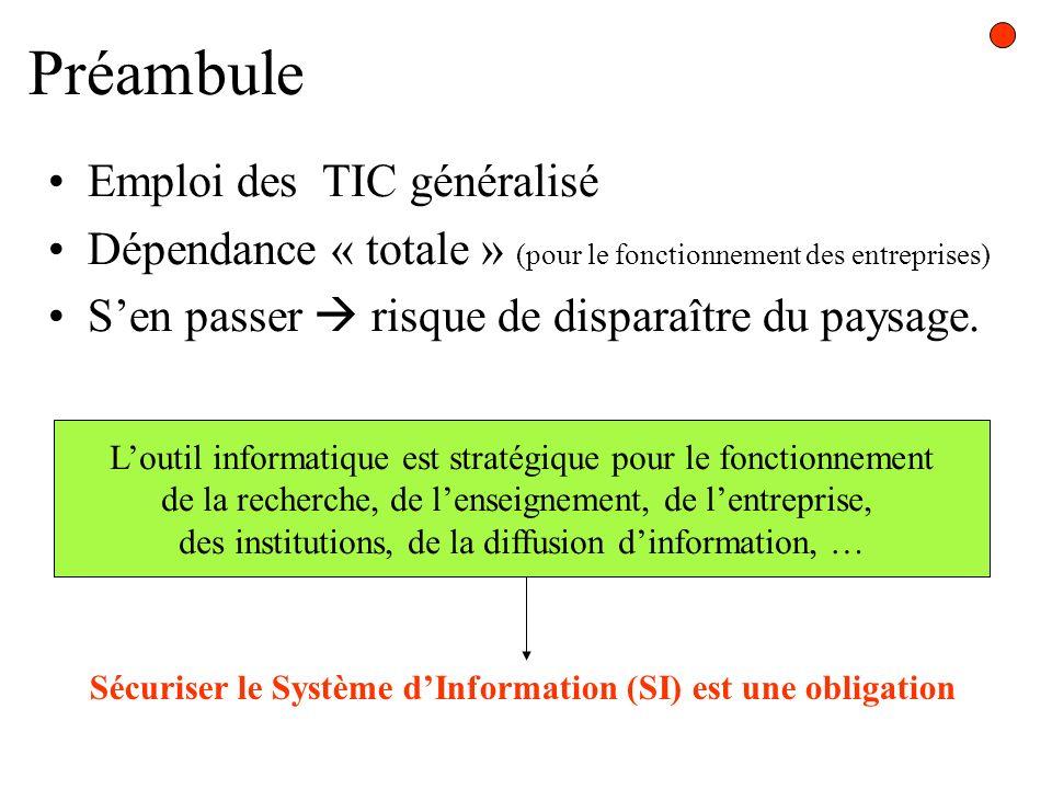 Préambule Emploi des TIC généralisé Dépendance « totale » (pour le fonctionnement des entreprises) Sen passer risque de disparaître du paysage. Loutil
