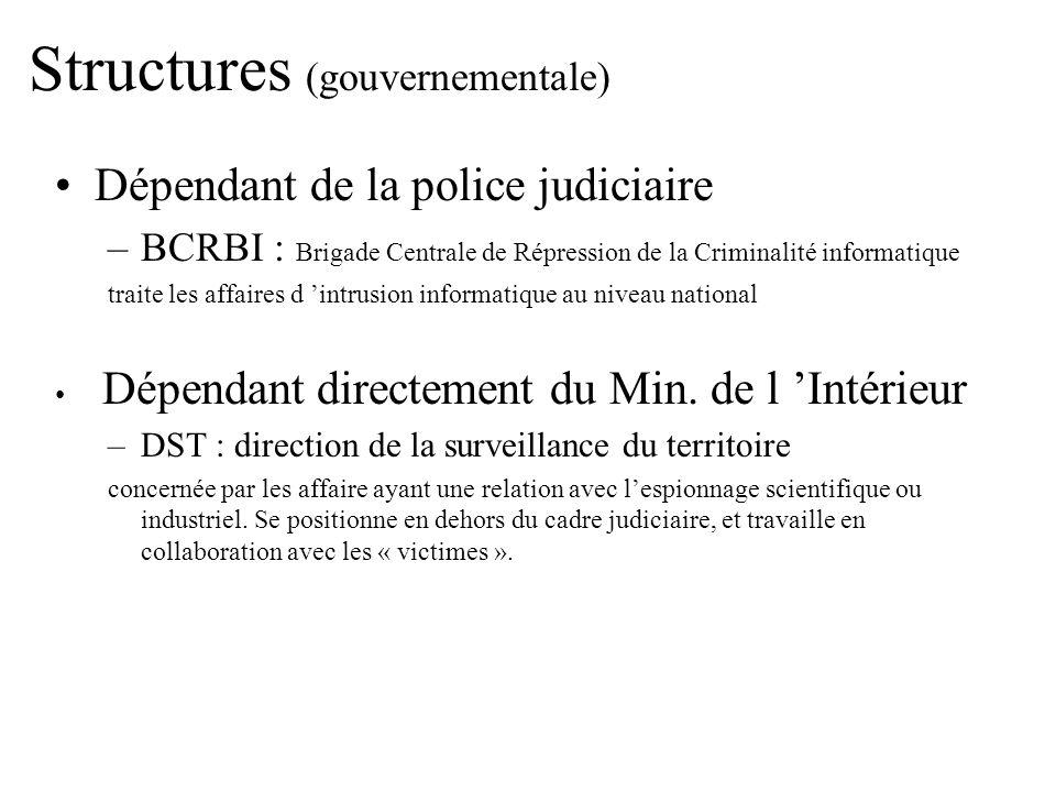 Structures (gouvernementale) Dépendant de la police judiciaire –BCRBI : Brigade Centrale de Répression de la Criminalité informatique traite les affai