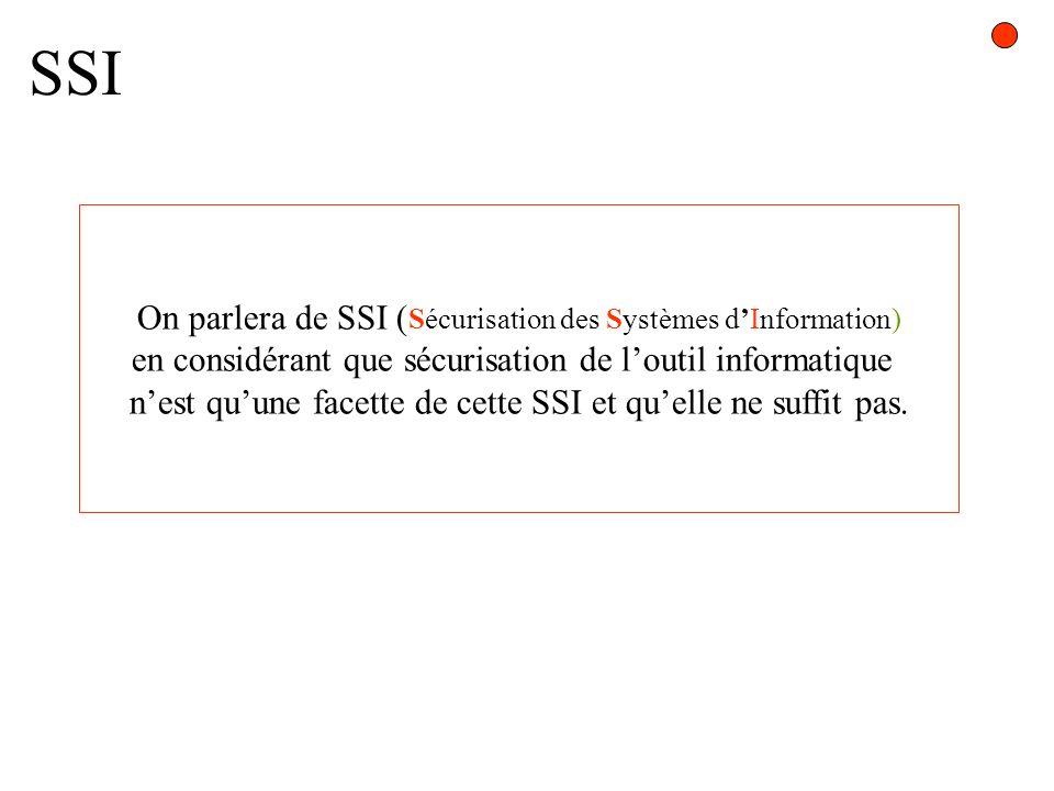 SSI On parlera de SSI ( Sécurisation des Systèmes dInformation) en considérant que sécurisation de loutil informatique nest quune facette de cette SSI