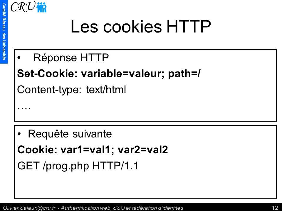 Comité Réseau des Universités Olivier.Salaun@cru.fr - Authentification web, SSO et fédération d identités12 Les cookies HTTP Réponse HTTP Set-Cookie: variable=valeur; path=/ Content-type: text/html ….