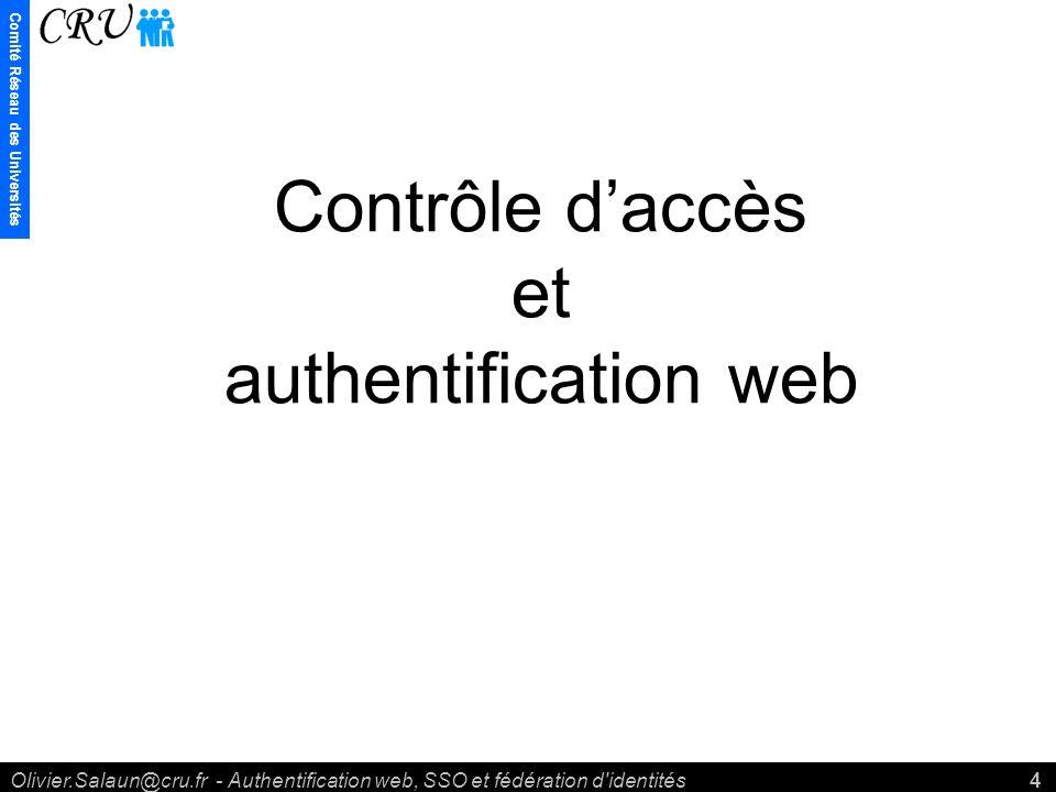 Comité Réseau des Universités Olivier.Salaun@cru.fr - Authentification web, SSO et fédération d identités4 Contrôle daccès et authentification web