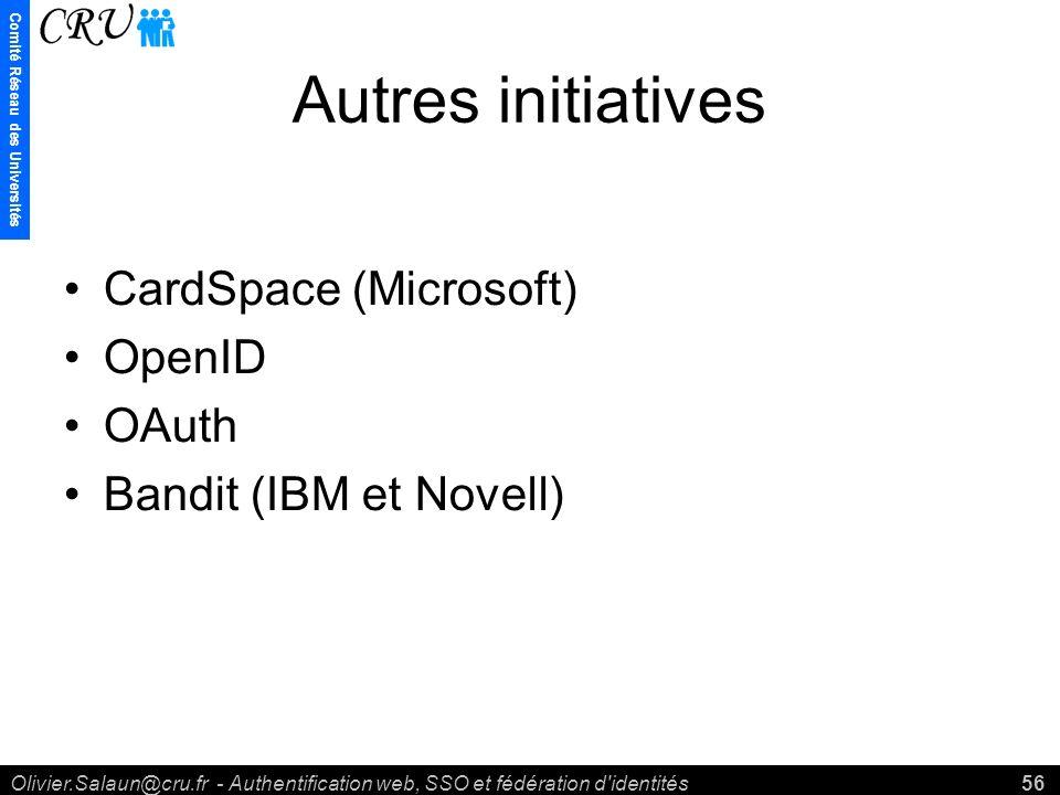 Comité Réseau des Universités Olivier.Salaun@cru.fr - Authentification web, SSO et fédération d identités56 Autres initiatives CardSpace (Microsoft) OpenID OAuth Bandit (IBM et Novell)