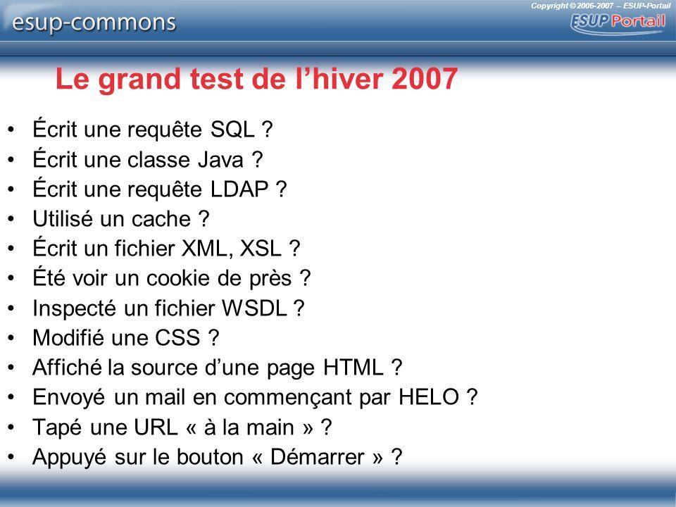Copyright © 2006-2007 – ESUP-Portail Le grand test de lhiver 2007 Écrit une requête SQL ? Écrit une classe Java ? Écrit une requête LDAP ? Utilisé un