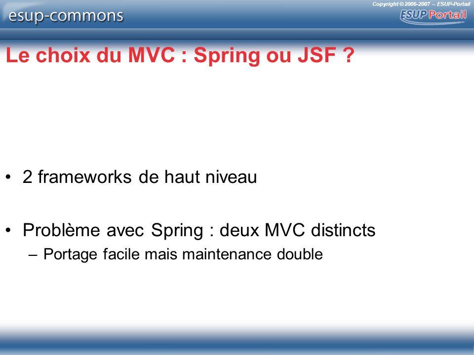 Copyright © 2006-2007 – ESUP-Portail Le choix du MVC : Spring ou JSF .