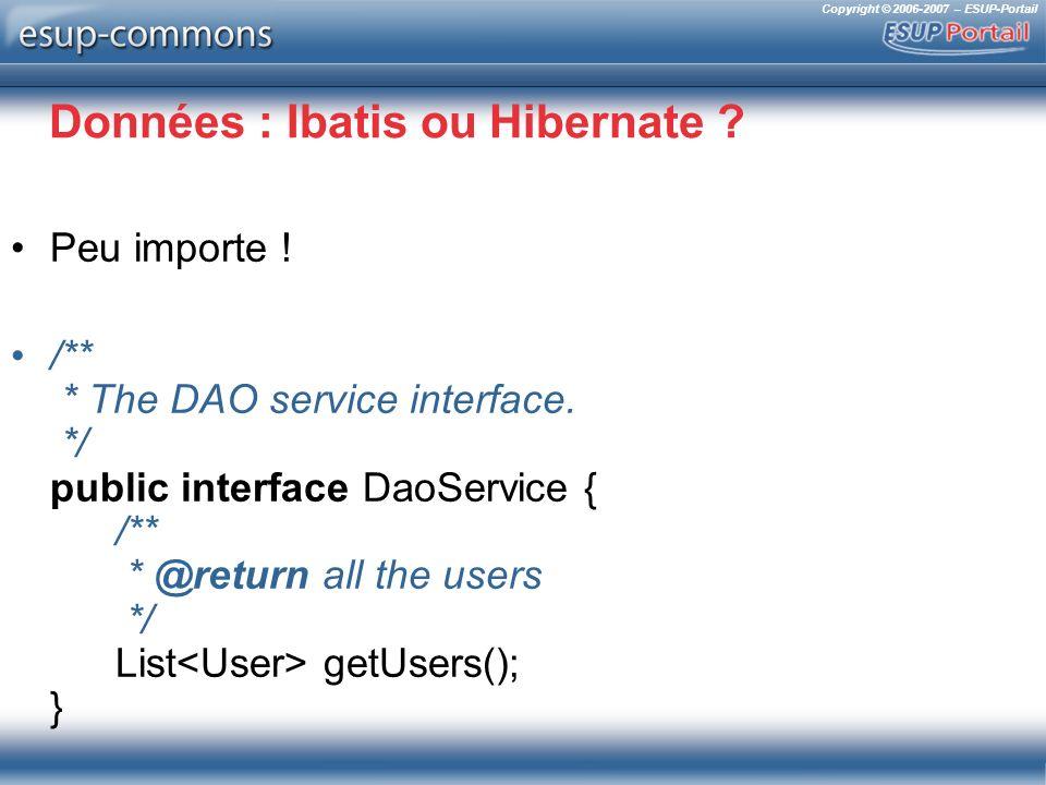 Copyright © 2006-2007 – ESUP-Portail Données : Ibatis ou Hibernate ? Peu importe ! /** * The DAO service interface. */ public interface DaoService { /