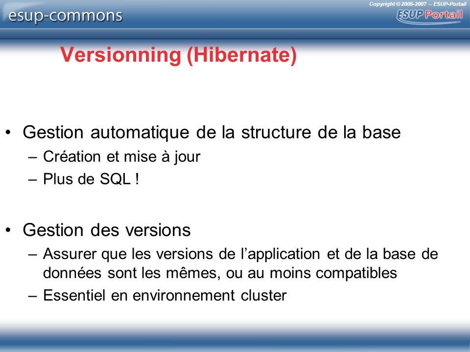 Copyright © 2006-2007 – ESUP-Portail Versionning (Hibernate) Gestion automatique de la structure de la base –Création et mise à jour –Plus de SQL ! Ge