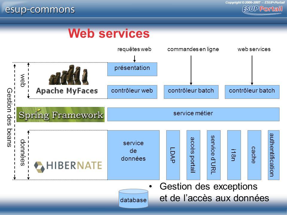 Copyright © 2006-2007 – ESUP-Portail Web services Gestion des exceptions et de laccès aux données présentation contrôleur web service métier service d