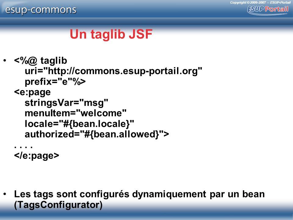 Copyright © 2006-2007 – ESUP-Portail Un taglib JSF.... Les tags sont configurés dynamiquement par un bean (TagsConfigurator)