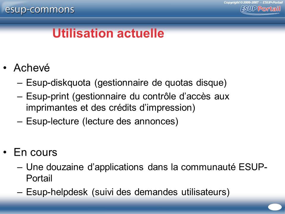 Copyright © 2006-2007 – ESUP-Portail Utilisation actuelle Achevé –Esup-diskquota (gestionnaire de quotas disque) –Esup-print (gestionnaire du contrôle