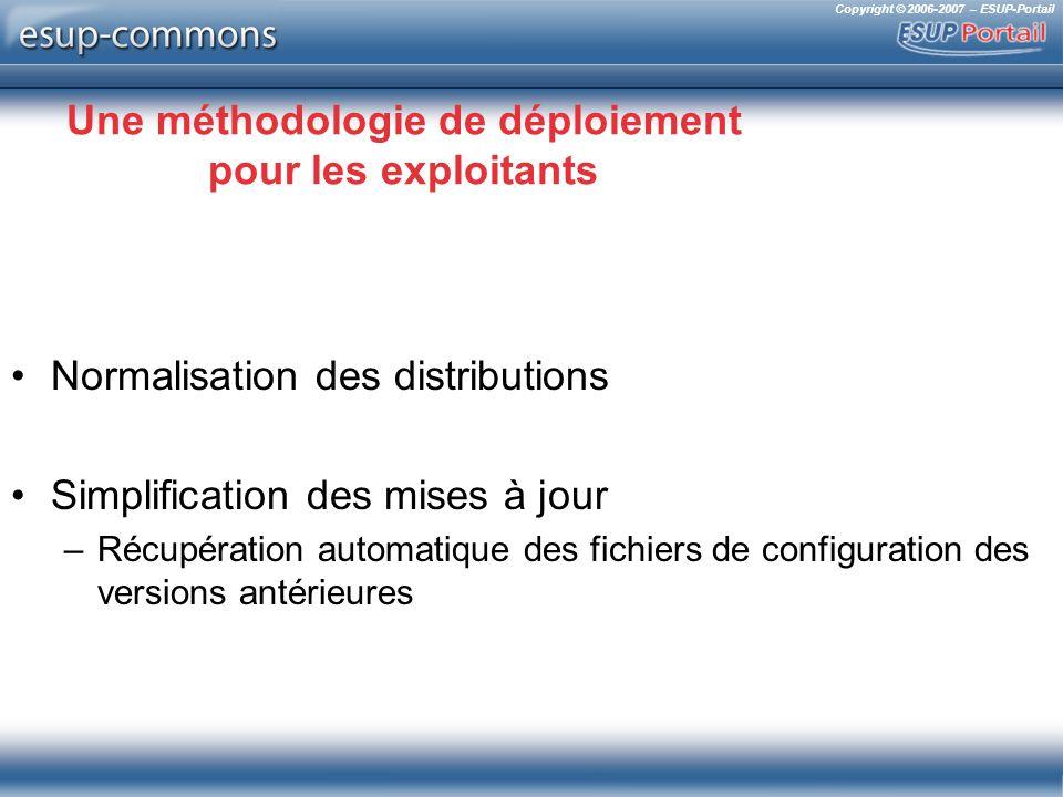 Copyright © 2006-2007 – ESUP-Portail Une méthodologie de déploiement pour les exploitants Normalisation des distributions Simplification des mises à jour –Récupération automatique des fichiers de configuration des versions antérieures
