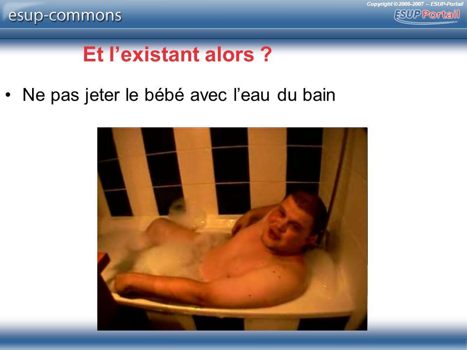 Copyright © 2006-2007 – ESUP-Portail Et lexistant alors ? Ne pas jeter le bébé avec leau du bain
